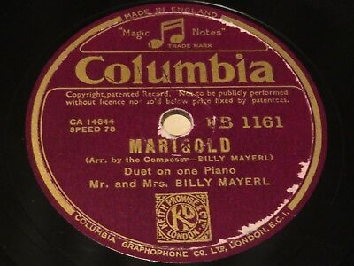 MR & MRS BILLY MAYERL Marigold/Ace Of Spades COLUMBIA 78rpm