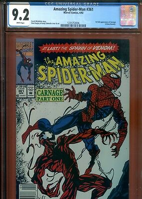 1992 The Amazing Spiderman #361 Cgc 9.2 White Pages Brand New Case Look