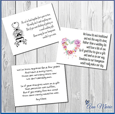 10 x WEDDING MONEY REQUEST POEM / GIFT POEM CARDS / HONEYMOON WISH POEM CARD