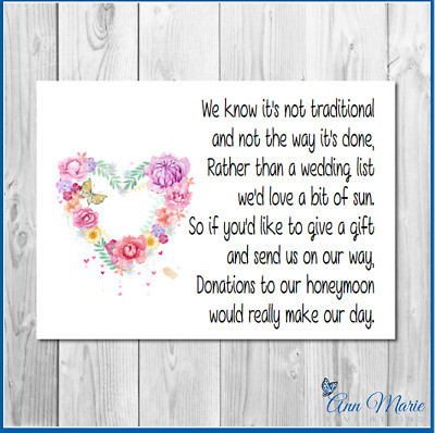 10 Personalised Wedding Money Poem / Honeymoon Wish Poems Card / Gift Poem Cards