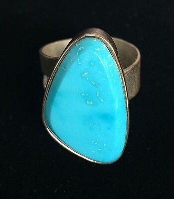 Turquoise and Sterling Silver Triangular Ring Size 10 Mine Finds by Jay King DTR