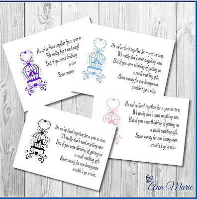 10 Personalised Wedding Money Poem / Gift Poem Card / Honeymoon Wish Poems Cards