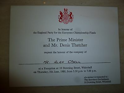 FA Invite an official invitation by The prime Minister, Margaret Thatcher