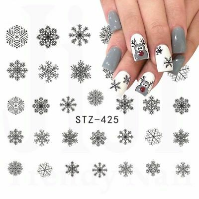 Adesivi di NATALE unghie FIOCCHI NEVE SNOWFLAKES Stickers nail art water decals