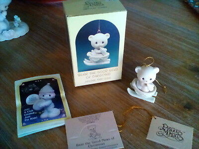 Precious Moments Mini Ornament BEAR THE GOOD NEWS OF CHRISTMAS 104515 NEW '87