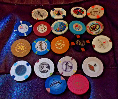 MIXED LOT OF 20 mostly $1.00 hotel casino gaming chips