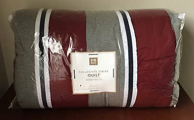 Pottery Barn Teen Collegiate Stripe Full/Queen Quilt~Red/Gray