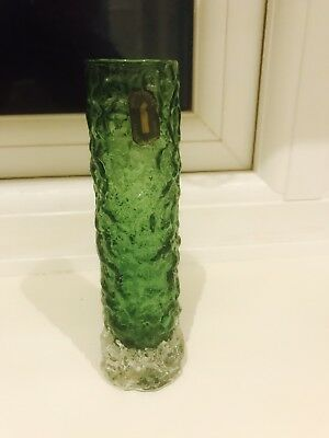 Whitefriars Meadow Green Textured Finger Vase Excellent Both Labels