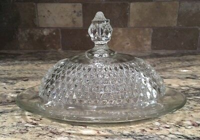 Vintage Indiana Glass Covered Oval Butter Dish Clear Diamond Point Unused 1966