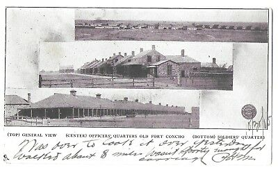 San Angelo, TX, Old Fort Concho, 3-View Card, Private Mailing Card, pm 1905