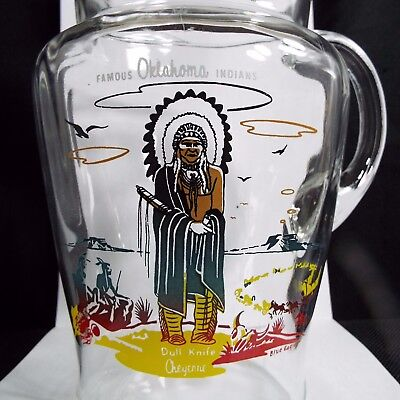 1950s ACEE BLUE EAGLE Famous Oklahoma Indians CLEAR PITCHER~~Knox Oil Premium