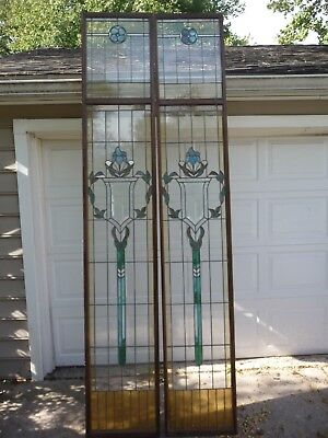 2 Leaded Stained Glass  Window Huge 107  18.5  Beautiful Set Old Glass Beveled