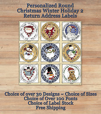 Personalized ROUND Holiday Christmas Winter 2 Return Address Labels Seals