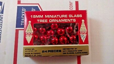 Vintage Lot of 24 Miniature Glass Christmas Tree Ornaments 15mm Red Holiday Xmas