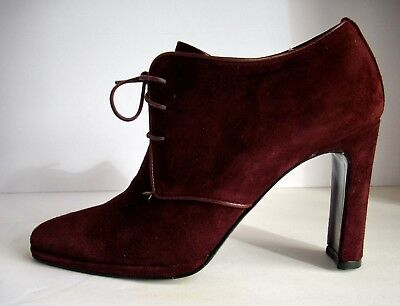 Vintage Ellen Tracy Womens Shoes - 7 B - Lace Front - Wine Suede - Made In Italy