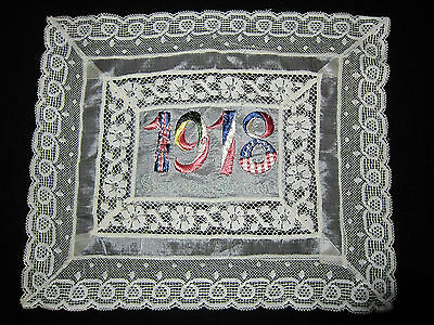Vintage Antique Lace Silk Hankie Souvenir France Dated 1918 100 Years Embroidery