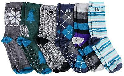 Men's Fuzzy Socks, Holiday Gift, Non-Skid Sole, Plush, Soft Mens 7-13 Shoe Size