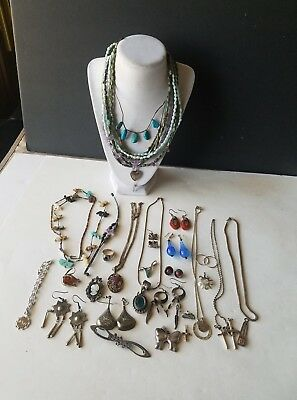 Sterling silver jewelry lot 95+ grams earrings, liquid silver necklaces, ring.