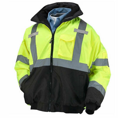 Occunomix Hi-Vis Bomber Jacket With Black Bottom and Fleece Zip Out Lining XL