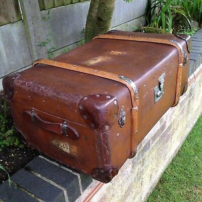 Vintage Canvas Trunk Old Car Travel Chest Beech Bound Antique Waxed Storage