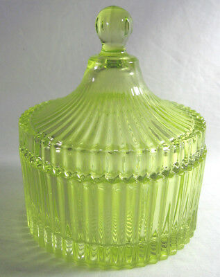 Ornamental Lime Green Glass Jar Canister With Lid