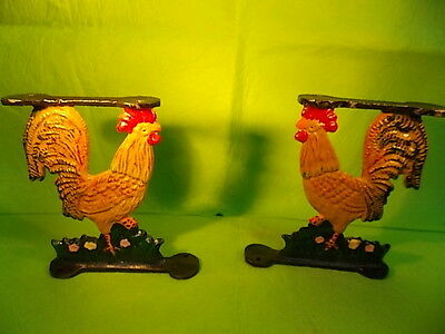 Cast Iron -Set Of 2 Shelf Brackets- Vintage-Hand Painted-Rooster