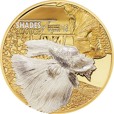 2016 Cook Islands $5 Siameses Fighting Fish PCGS PR69DCAM First Strike Gold Plat