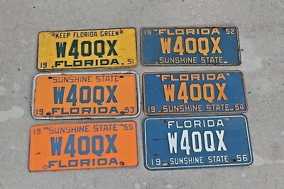 Rare One Owner Lot of 6 Antique Florida License Plate 1951,52,53,54,55 & 1956
