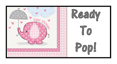 48 Personalised Baby Shower Ready To Pop Stickers labels Party Bag Sweet Cones