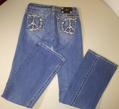 Miss Me girls denim jeans Size 14x32 peace sign bootcut 26 inch waist bling