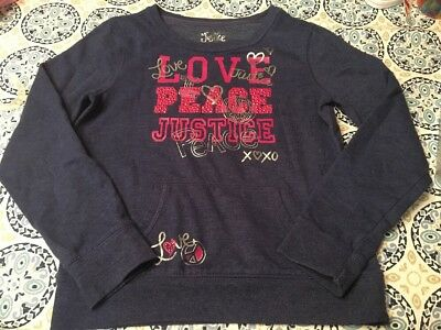 Justice Girls LOVE PEACE JUSTICE sweatshirt Size 12