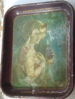 Vintage 1920s Nu-Grape Soda Advertising Woman & Bottle Metal Tray Coshocton Ohio