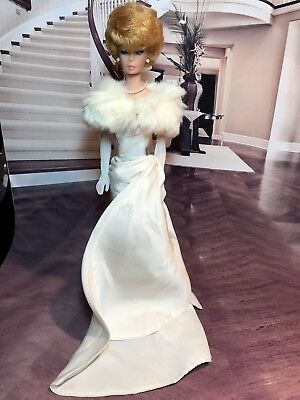 Vintage Barbie Enchanted Evening and Fur Stole Unusual Cream or Ivory Color