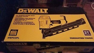 "NEW - DeWalt DWF83PL 21-Degree 3-1/4"" Plastic Round Head Strip Framing Nailer"