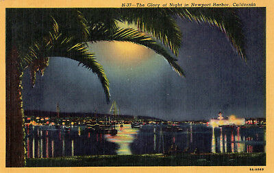 Linen postcard, Western Pub. Novelty Co.,  Glory of Night in Newport Harbor, CA