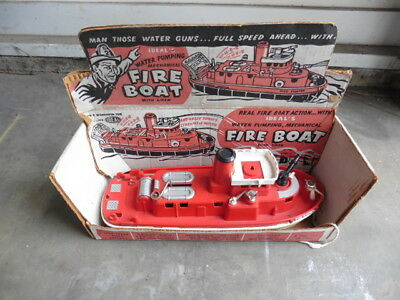 1950s Ideal Fire Boat Toy w Display Box Crank Water Cannon Siren As Found Repair