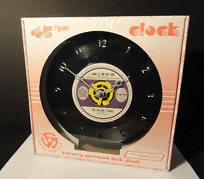 """The Rolling Stones - 45RPM 7"""" Record Desk Clock - Time Is On My Side"""