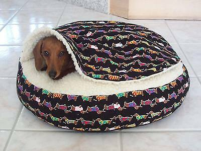 NEW Dachshund Small Dog Bed Snuggle Bed for Burrowing Dogs Marching Doxie Fabric