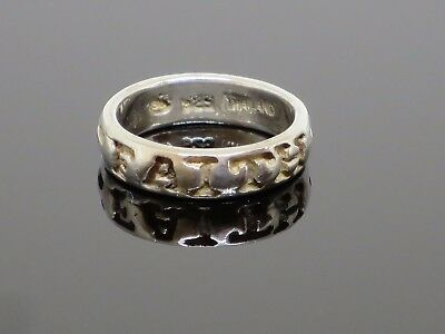 "Vintage ""TRUST = FAITH"" 925 Sterling Silver Ring, 3.7g, size 5.25"