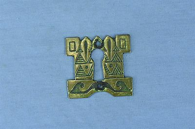 Antique BRASS ENGRAVED KEY HOLE COVER ESCUTCHEON HARDWARE OLD #03750