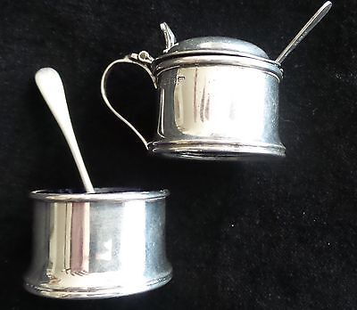 Vintage Sterling Silver Mustard Pot With Sterling Silver Salt Cellar Two Spoons