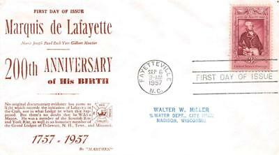 1097 3c Lafayette Bicentenary, First Day Cover Cachet [E243940]