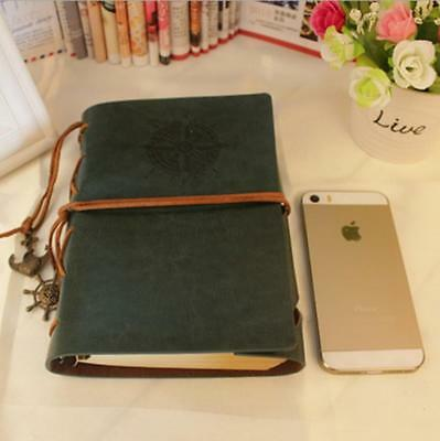 Retro Leather Bound Blank Pages Travel Journal Diary Notebook Sketchbook FW