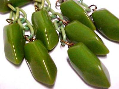 Gorgeous Vintage Retro Green Bakelite Large Dangling Brooch Pin