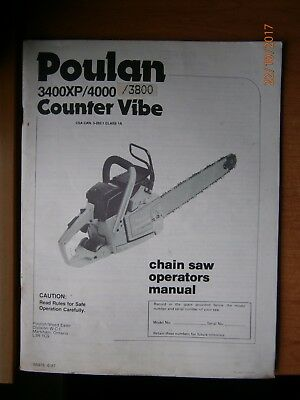 Poulan 3400XP/4000/3800 Chain Saw Instruction Manual