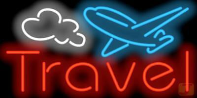 Travel Neon Sign 37x22 Booking Agency Vacations Hotel Passports Tours Jantec USA