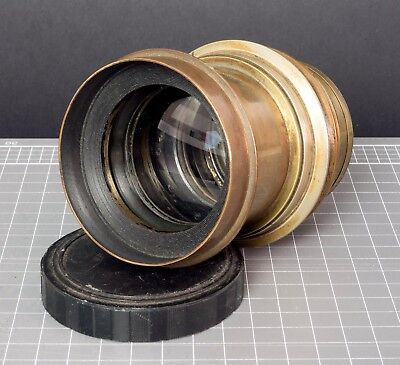 Lancaster & Sons rectigraph 10x8 brass lens. 360mm focal length/f7 max aperature