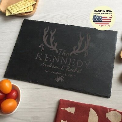 antlers engraved personalized cheese board cutting board stone Christmas gifts