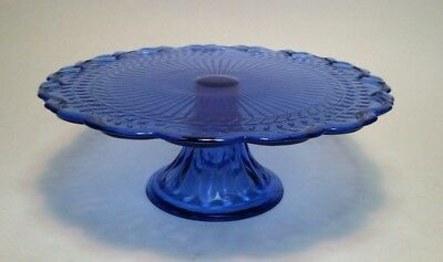 vintage Cobalt Blue Glass Cake Stand depression glass style