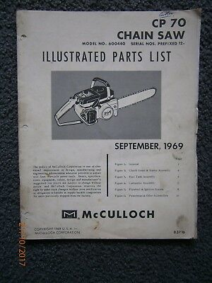 McCulloch CP70 Chainsaw Illustrated Parts List 83716